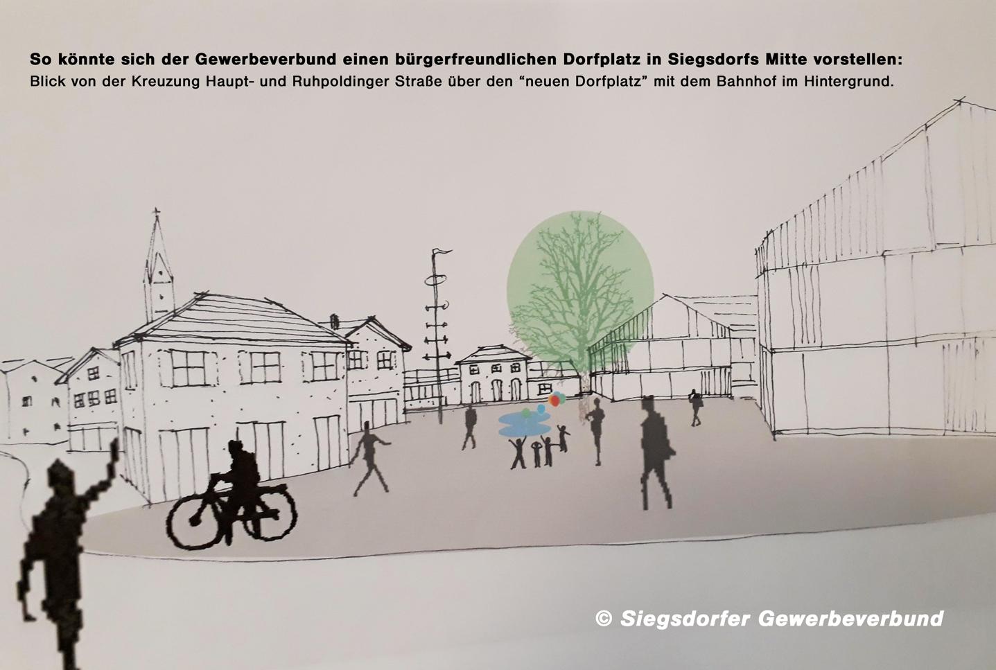 So könnte sich der Gewerbeverbund einen bürgerfreundlichen Dorfplatz in Siegsdorfs Mitte vorstellen