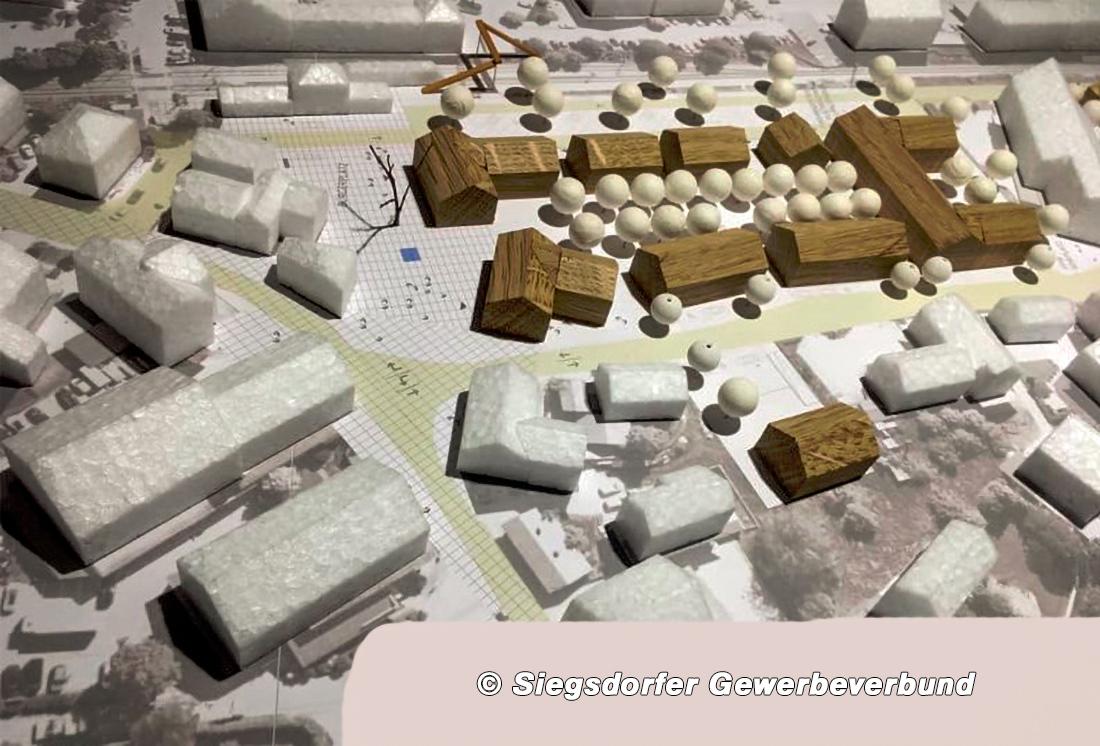 Alternatives Planungsmodell Gewerbeverbund mit Blick von Hauptstraße auf möglichen Dorfplatz