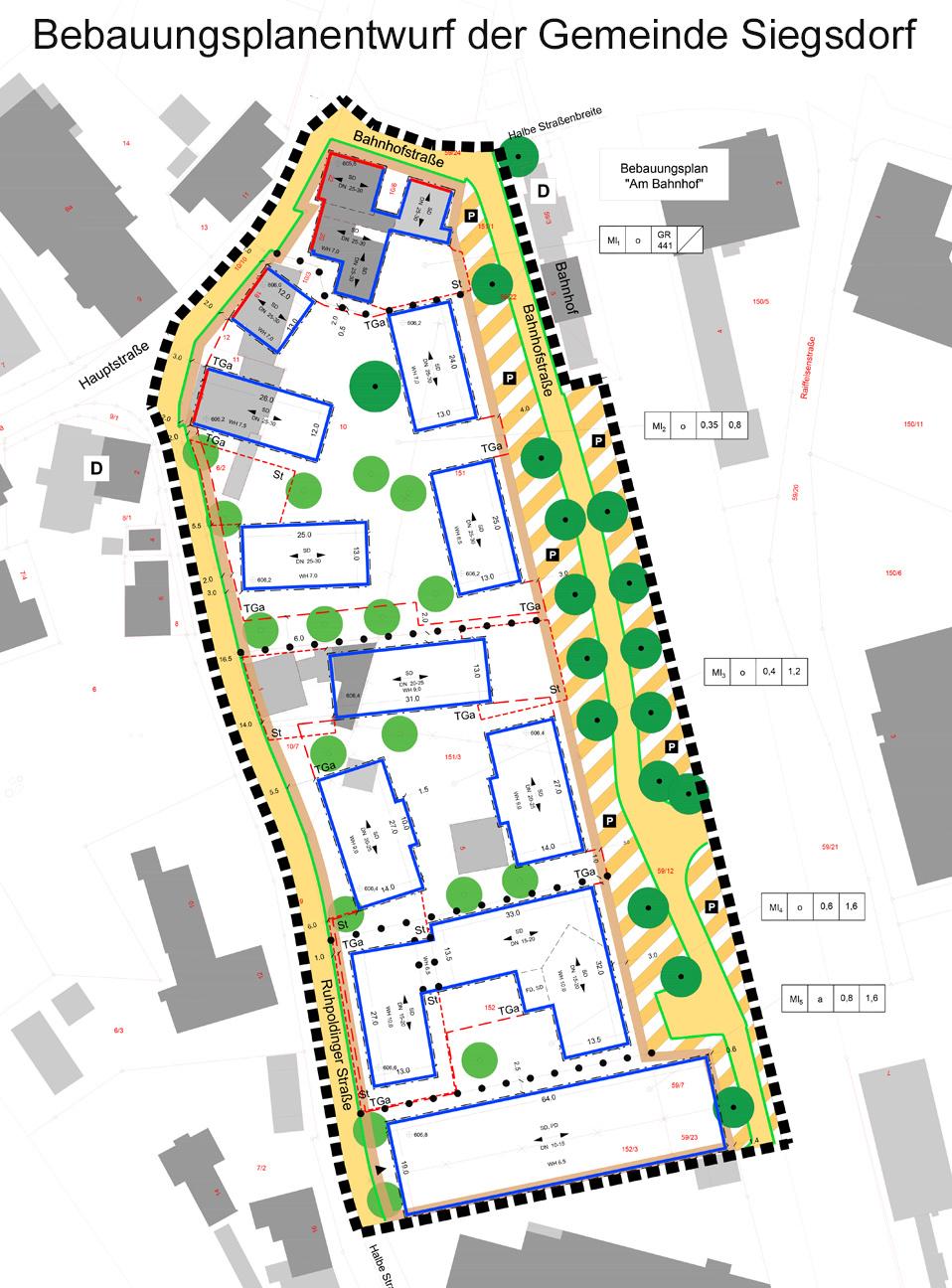 Ausgelegter Bebauungsplanentwurf im Bahnhofsbereich der Gemeinde Siegsdorf